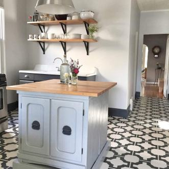 Kerry's kitchen in Parquet Charcoal by Neisha Crosland