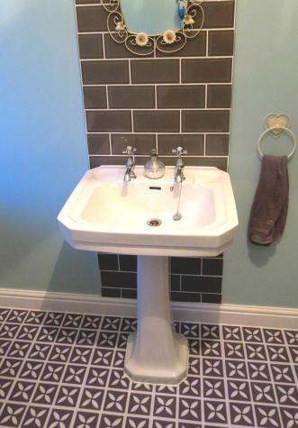 purple bathroom flooring