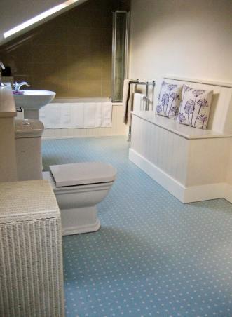 Joanna's bathroom in Spot Blue by Cath Kidston
