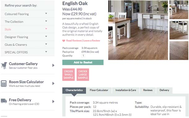 English Oak Product Page