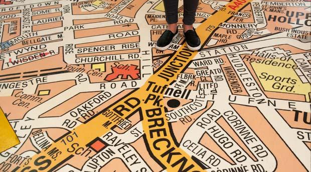 London floor map in school entrance