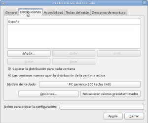 Configurando distribuciones de teclado