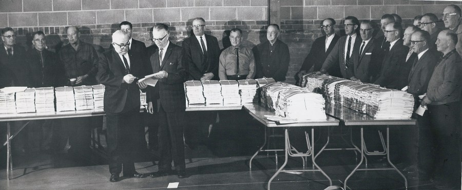 East River Electric directors and board members prepare to distribute the Heartland petitions in 1968.