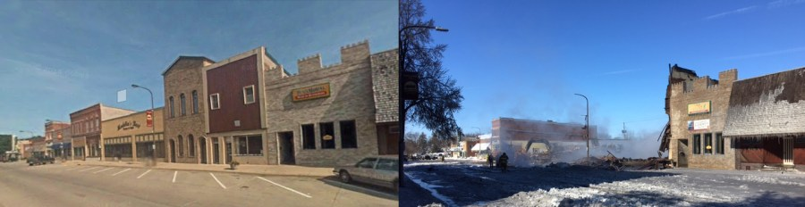 Side-by-side comparison of downtown Madelia before and after the fire.