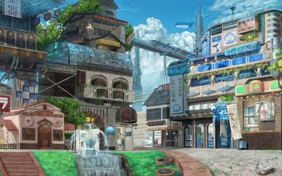 anime hd landscape wallpapers town cool wonderful scenery fairy paisajes fondos fondo tail character
