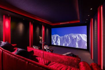 private screening room with large screen