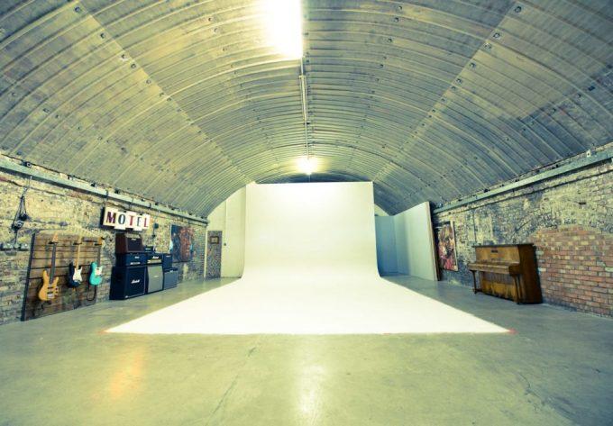 large photo studio with white background