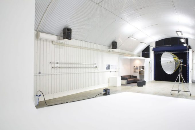 white studio with curved cieling