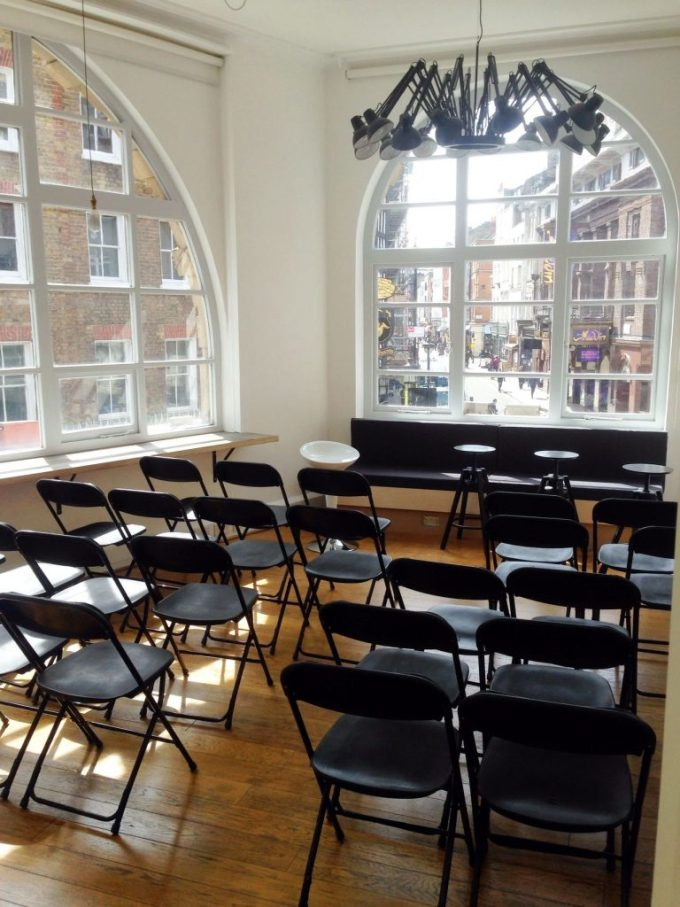 meeting room with two window views