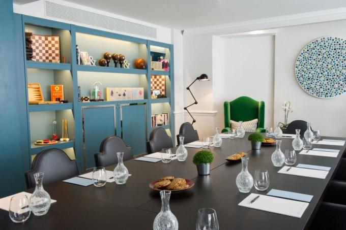 unique meeting room with bright decor