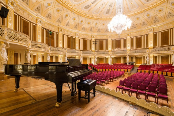 grand concert hall with domed ceiling