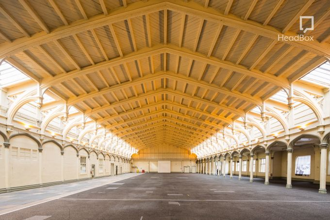 warehouse with yellow arched ceiling