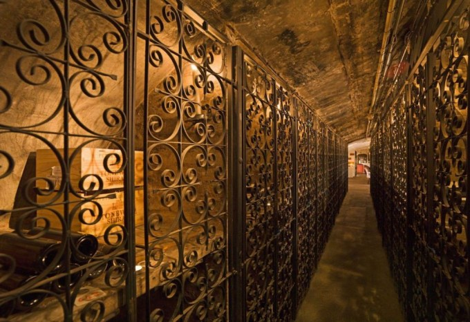 long hallway in The Stafford Wine Cellars