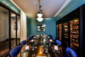 blue walled magnum room cabotte restaurant