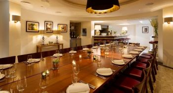 modern private dining room with table