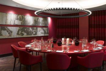 deep red themed dining room Kuryakin