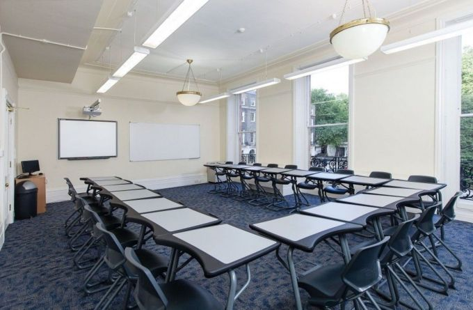 conference room with individually joined tables