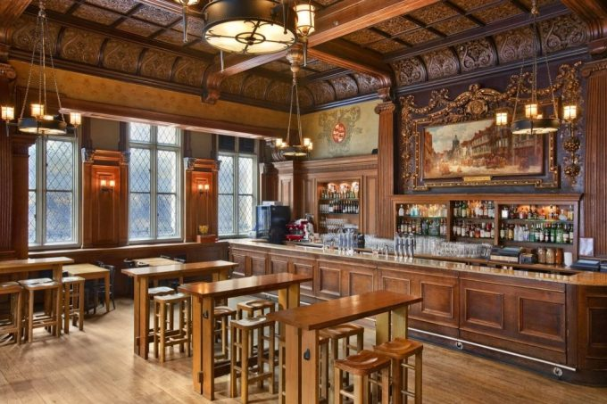 traditional pub venue with a wooden bar