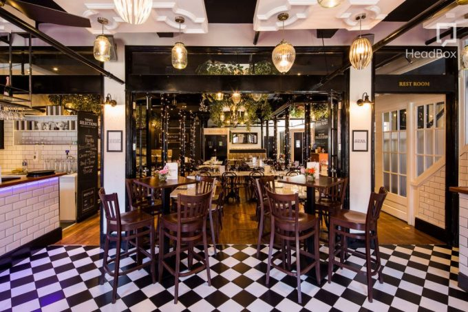 restaurant with black and white tiles