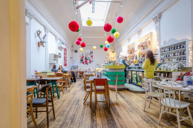 multi-coloured london cafe to revise