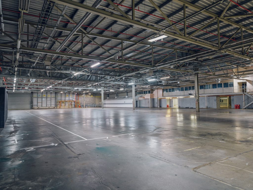industrial warehouse with open metal ceiling