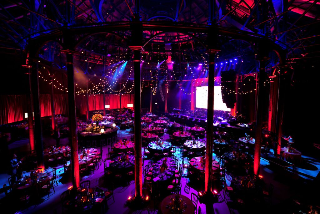 unusual conference venue with purple hue