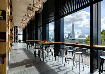 An event venue with large floor to ceiling windows