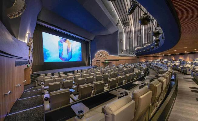 large screening room with rows of tiered seats facing a large screen