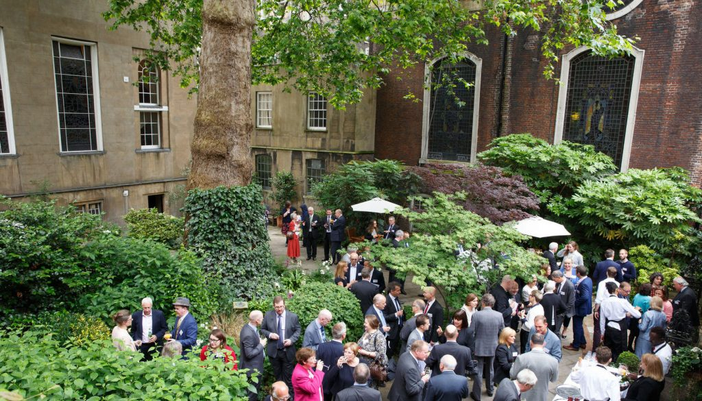 The Garden at Stationers' Hall is a beautiful outside venue perfect for private parties. The Garden is a large terrace with lots of greenary covering the area and people stood around on the terrace talking and drinking.