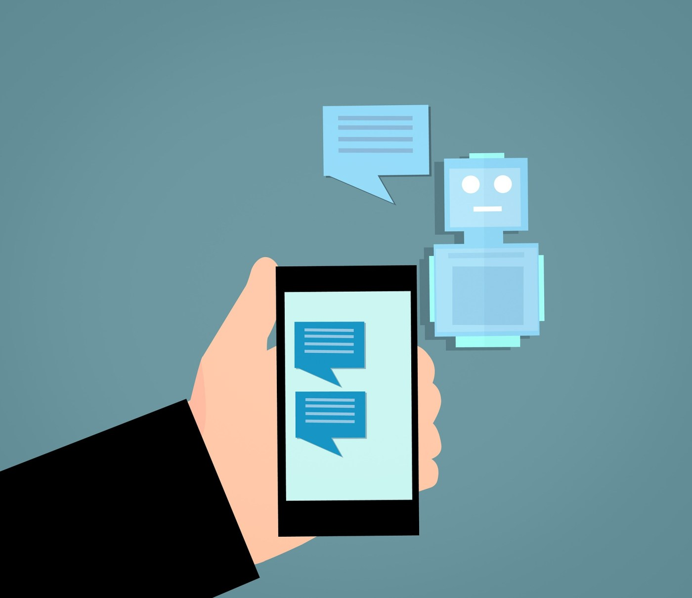 An infographic of a chat bot. There is a hand holding a phone which has blue message icons on the screen. Right of the phone there is a small cartoon robot which suggests a chat bot.