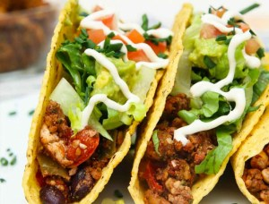 Close up of vegan tacos