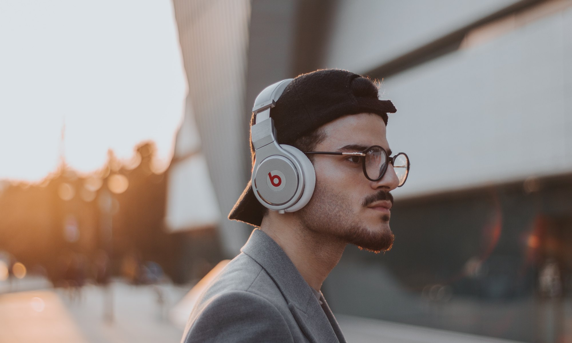 Man listening to relaxing music through headphones