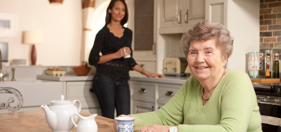 Senior woman and carer at home