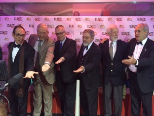 "From left: James Delingpole, Christopher Monckton, Christopher Essex, Bob Carter, Tom Harris, and Patrick Moore at the premiere of ""Climate Hustle"" in Paris, December 7, 2015."