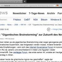 2006-11-02 IGF - Gigantisches Brainstorming zur Zukunft des Netzes (heise online)
