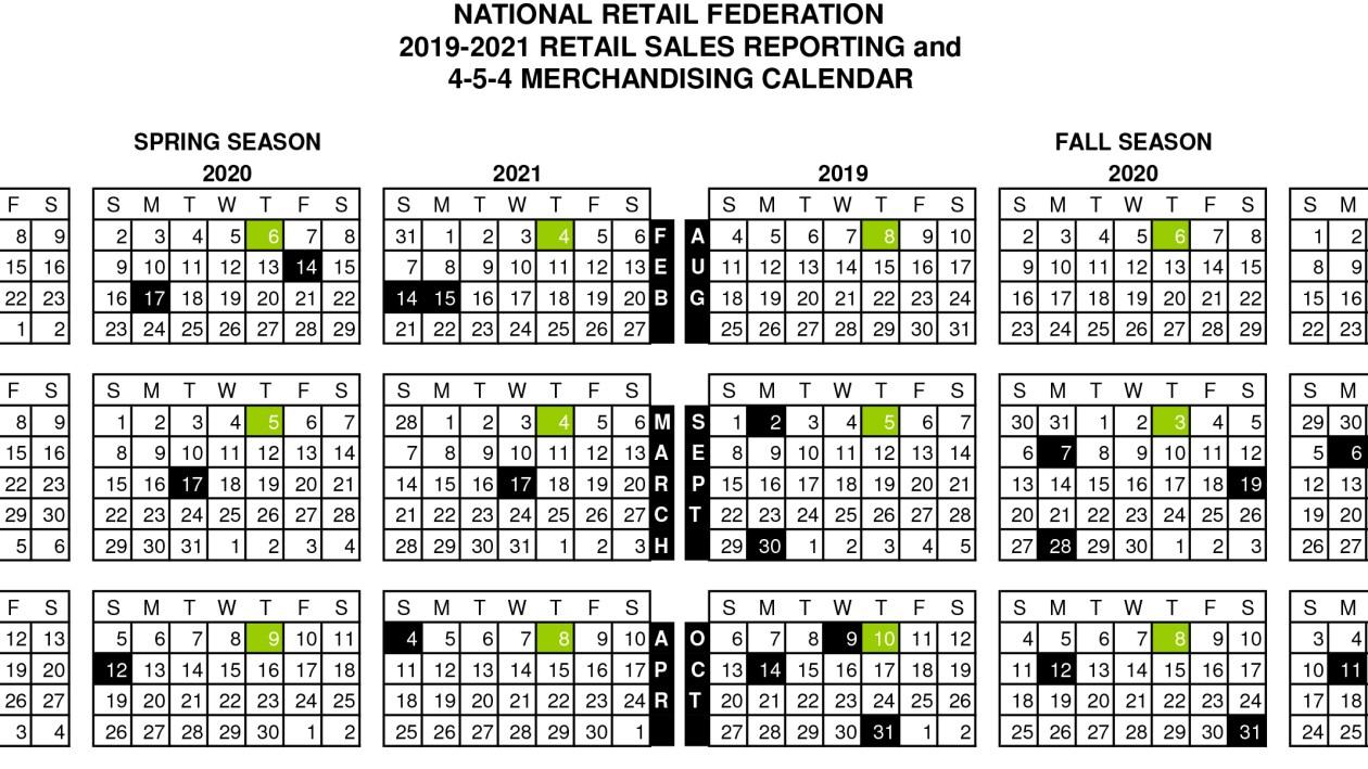 4-5-4 retail calendar nrf