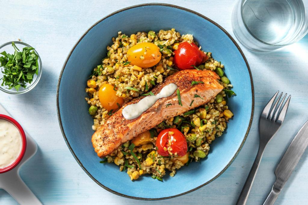 Middle Eastern-Spiced Salmon Freekeh Bowl