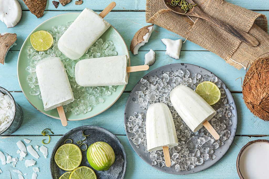 coconut lime homemade popsicles on ice