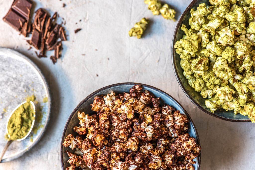 Popcorn selber machen: Schokolade und Matcha