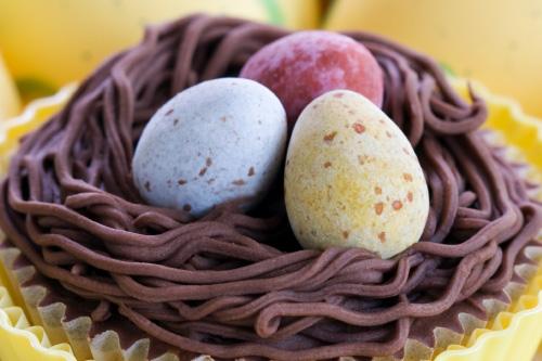 Schokoladen-Osternester mit Schoko-Eiern