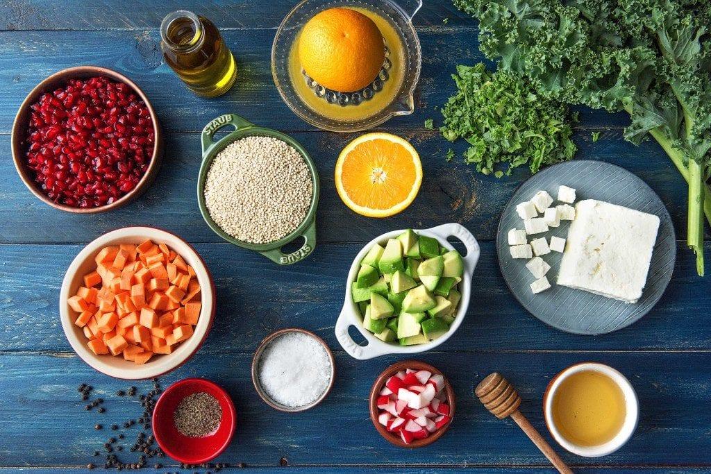 Grünkohlsalat mit Quinoa und Süßkartoffeln: Zutaten