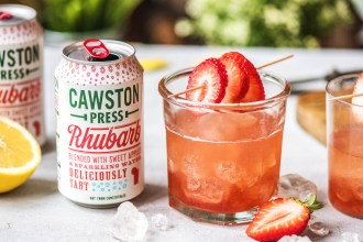 Our Rhubarb & Strawberry Cocktail with Cawston Press