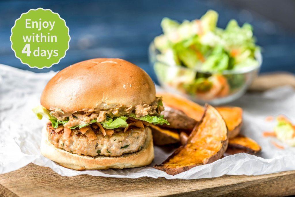 Pork Satay Burgers with Paprika Sweet Potato Wedges