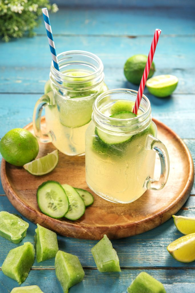 lime and cucumber ice cubes