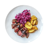 Balsamic Steak with Red Cabbage and Potato Wedges