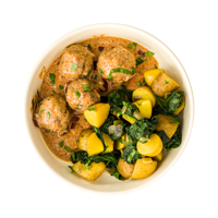 Beef Kofta Curry with Sag Aloo