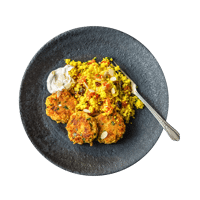 Chickpea Falafel with Saffron Couscous and Harissa Yoghurt