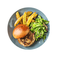 Classic Sausage Burger with Onion Marmalade, Wedges and Salad