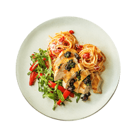 Crispy Skin Chicken with a Black Garlic, Chorizo & Basil Salsa on a Bed of Spaghetti