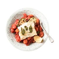 Mediterranean Style Gnocchi with Basil Baked Cod